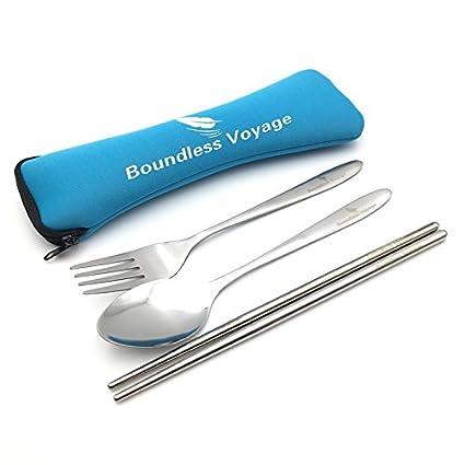 Conjunto portátil de 3 piezas de cubiertos de acero inoxidable con funda de neopreno de Boundless Voyage, cuchara, tenedor y palillos chinos para ...