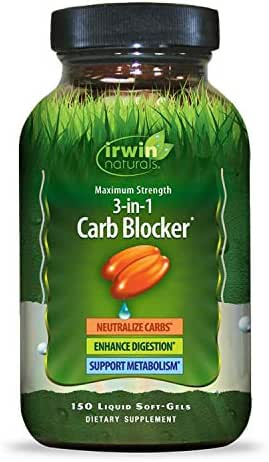 Irwin Naturals Maximum Strength 3-in-1 Carb Blocker - Neutralize Carbohydrates and Support Metabolism - 150 Liquid Softgels