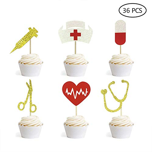 Nursing Cupcake Toppers Nurse Graduation Cupcake Toppers Medical Rn Themed Cake Picks Nursing Cupcake Decorations 36PCS -