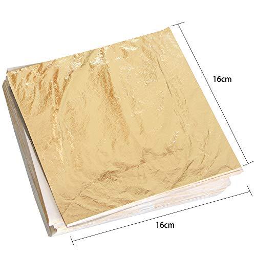 100 Sheets Imitation Gold Leaf Gilding Foil Sheets 6.3