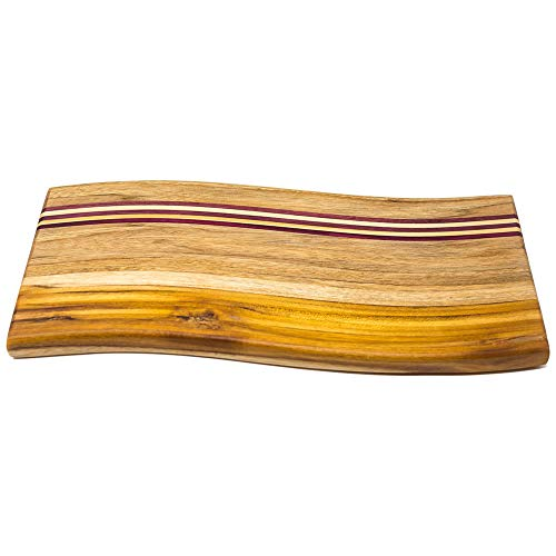 Ziruma Wood Cutting Board Handmade with Teak, Purple Heart and Pine Wood. Hardwood Chopping and Cheese Serving Tray ()