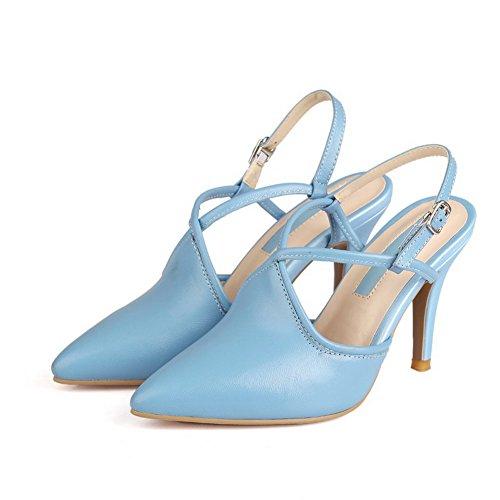 Amoonyfashion Womens Gesp Spitse Neus Spikes Stiletto Schapenvacht Solide Pumps Schoenen Blauw