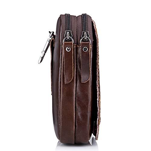 Bolsillos Para Brown Bag De Primera Multifunción Pantalones Slingshot Con Móvil Bolsa Hombres Teléfono Cuero Capa Cinturón HBqBdr