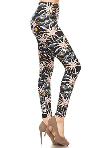 S694-OS Sunsets & Palm Trees Print Fashion Leggings