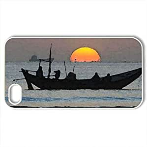 Sunset - Case Cover for iPhone 4 and 4s (Sunsets Series, Watercolor style, White)