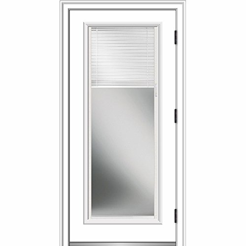 National Door ZA364934L Smooth, Primed, Left Hand Outswing, Prehung Door, Full Lite, Clear Low-E Glass, Internal Blinds, 30