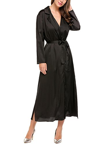 Zeagoo Women's Solid Lightweight Satin Open Front Long Trench Coat Cardigan with belt Black S Black Satin Trench Coat