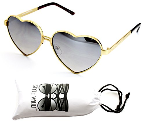 V174-vp Style Vault Heart Love Metal Sunglasses (S1439V Mt Gold-Silver - Old Sunglasses Fashion