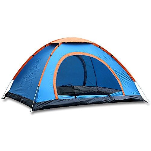 実施する原始的なMengshen キャンプテント ドームテント 設営簡単 撥水加工 高通気性 紫外線カット収納ケース付 MS-A35 Blue