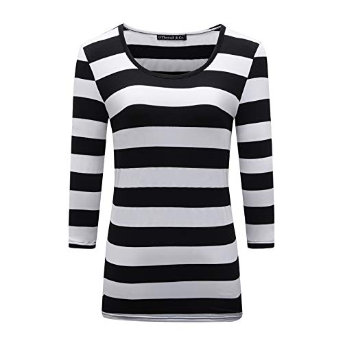 OThread & Co. Women's 3/4 Sleeve Striped T-Shirt Basic Scoop Neck Shirts (Medium, Black&White)