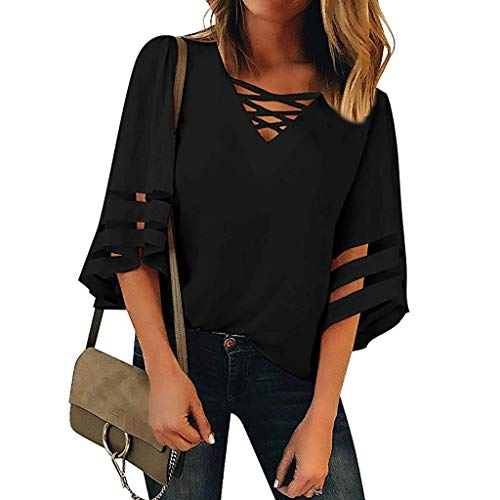 Women's V Neck Mesh Panel Blouse 3/4 Bell