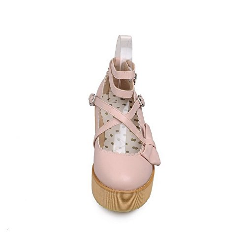 Amoonyfashion Damesgesp Pu Rond Gesloten Teen Kitten Hakken Stevige Pumps-schoenen Roze