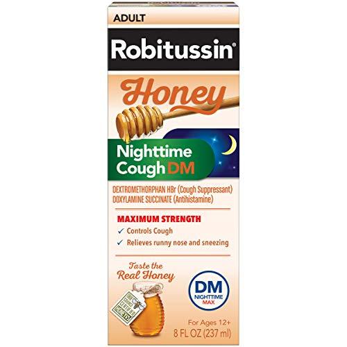 Robitussin Honey Adult Maximum Strength Nighttime Cough DM Max, Cough Suppressant & Antihistamine, Real Honey, 8 fl. oz. Bottle