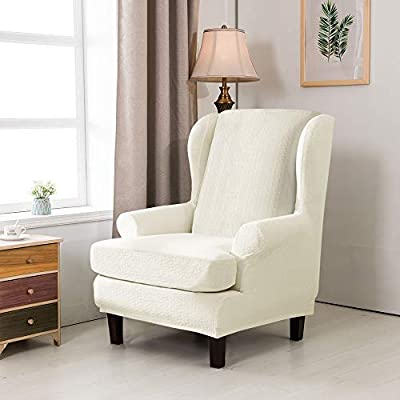 TIKAMI Wing Chair Covers Stretch Spandex Sofa Covers Furniture Protector with Arms Elastic Bottom