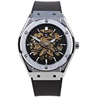 RALPH CHRISTIAN Men's Watch Prague Automatic Movement Skeleton Dial Stainless Steel Self Winding Mechanical Wrist Watches Black Rubber Band
