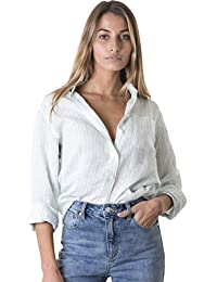 Women's Crushed Linen Casual Button-Down Shirt Start from The Basic