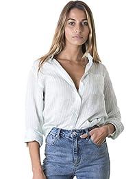 CAMIXA Camisa de MujerPuro Lino Blusa Fluida Semi Slim Suave Top Fresco