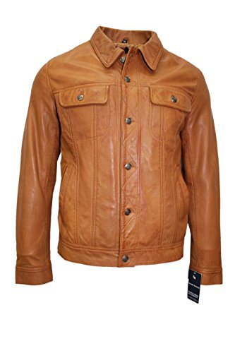 TRUCKER Men's Tan Classic Western Real Napa Soft Genuine Leather Jacket Shirt (2XL)