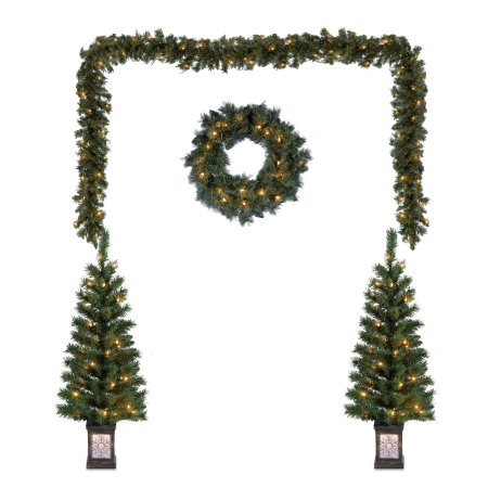 Holiday Time Christmas Decor Pre-Lit 5-Piece Entryway Set, Clear Lights (1) by Holiday Time