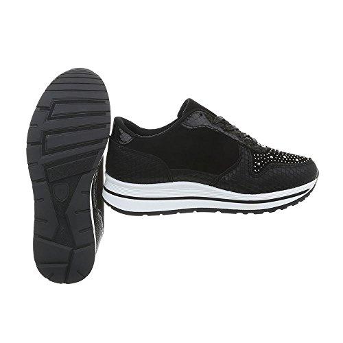 Ital-Design Chaussures Femme Baskets Mode Plat Sneakers Espadrilles Low Noir R-318 udlrZy