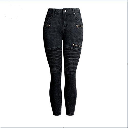 Size coton Black Jeans femme Black en Color pliss pour M 0gqZ0Rw