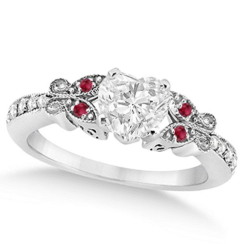 Butterfly Heart Shaped Diamond and Ruby Engagement Ring 14k White Gold (1.00ct)