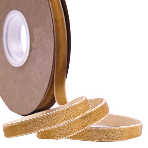 - Ribbon for Crafts -Wholesale Bulk 20 Yard 3/8 5/8 1Inch Velvet Ribbon for Gift Package Wrapping Floral Design Hair Bow Clip Accessory Making Sewing Wedding Decor (Light Brown, 10mm)