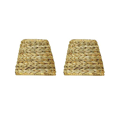 Upgradelights All Natural Sea Grass 5 Inch Retro Drum Chandelier Lampshades Set of 2 3x5x4.5