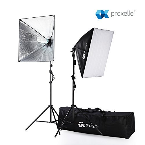 "700W Photography Softbox Studio Lighting Kit 24""X24"", Proxelle Professional Photography Soft Box Light Set Photo Shoot Standing Lights Equipment for Photographers"