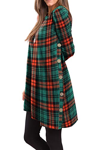 iGENJUN Women's Long Sleeve Scoop Neck Button Side Christmas Tunic Dress,L,MX-15 (Red Dresses And Green Christmas)