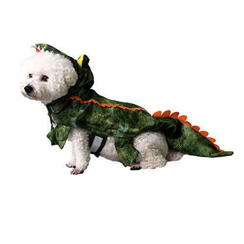 MUYAOPET Halloween Crocodile Dog Costume Small Large Dog Clothes Dog Party Dress (S, Green)