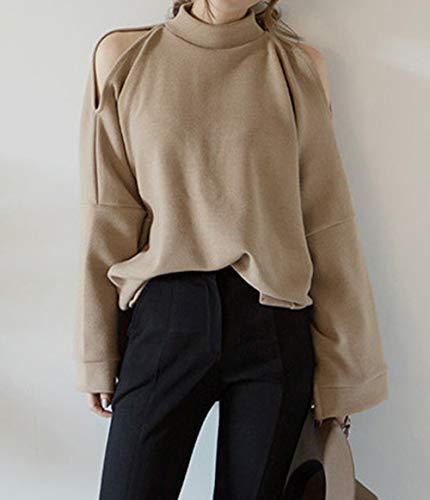 Casual Shirts Tops Monika Epaule Automne Hauts Pulls et Longues Mode Jumpers Printemps avec Kaki Manches Femmes Fendue Lache Nu Blouse Sweat Pullover zAAXOqw