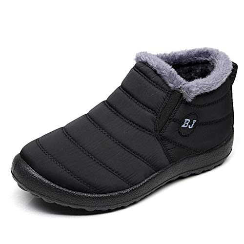 Fashion Brand Best Show Womens Winter Snow Boots Athletic Fur Snow Booties Outdoor Shoes (9 B(M) US, Black)
