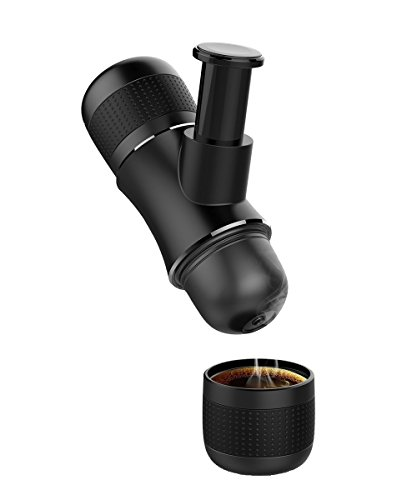 Best PORTABLE ESPRESSO MACHINE by HELMUT for Coffee Lovers, Easy to Use Coffee Maker for Home, or Treveling, Hiking, Skiing, Camping etc, Elegant Design and Delicious Real Espresso Crema– Black Color