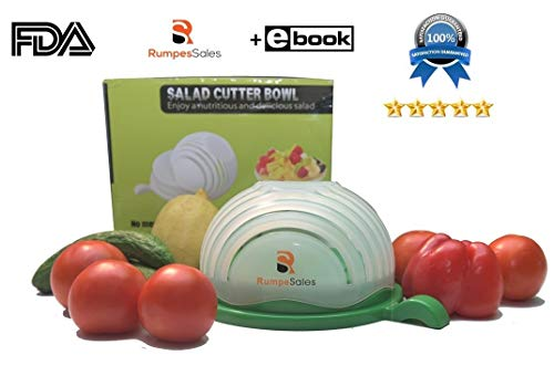 New Durable Upgraded Salad Cutter Bowl - 60 Second Super Simple Salad Chopper In Blue Cover. 100% Eco safe. Perfect For Making Tasty, Fresh And Healthy Vegetable Salad by RumpesSales + FREE EBOOK.