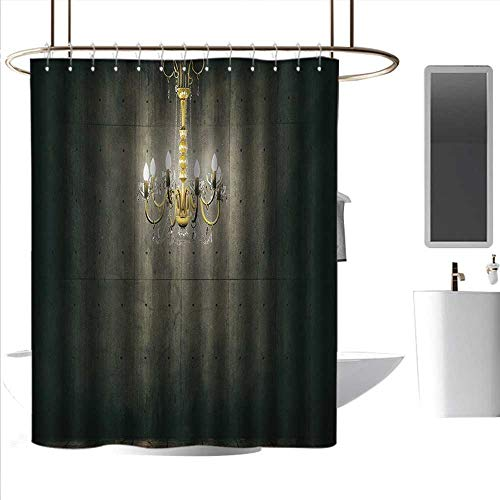 Boston Glass Chandelier - coolteey Shower Curtains Kids Grunge,Classic Chandelier in a Dark Gothic Wooden Room Vintage Style Room Picture,Grey and Yellow,W55 x L84,Shower Curtain for Shower stall