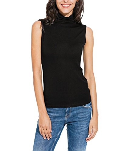 Nasperee Women Sleeveless High Turtleneck/Mock Neck Pullover Slim Fit T Shirt Tank Top Black