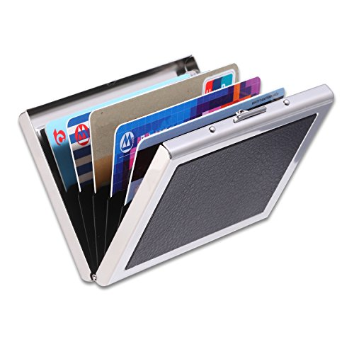 Credit Card Holder IMS RFID Blocking Thin Stainless Leather Case Wallet with 6 Card Slots Best Protection High Quality Smooth Metal Leather Case Slim Business 6 PVC Slots Card Case Unisex (Black)