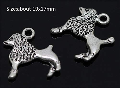 Allb Jewelry Making Accessories Charms Smooth Tibetan Silver Metal Charms Pendants DIY for Necklace Bracelet Jewelry Making and Crafting 10PCS(Shaggy Dog 19x17mm)