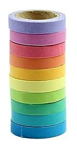 HeroNeo - 10 rollos de washi tape arco iris