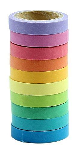 MassMall® Decorative DIY Tape Washi Rainbow Candy Color Sticky Paper Masking Adhesive Tape Scrapbooking &Phone DIY Decoration 10xRoll