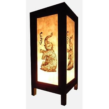 Thai Vintage Handmade Asian Oriental Elephant Bedside Table Light Or Floor  Wood Paper Lamp Shades Home