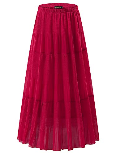 NASHALYLY Women's Chiffon Elastic High Waist Pleated A-Line Flared Maxi Skirts(Red XL)