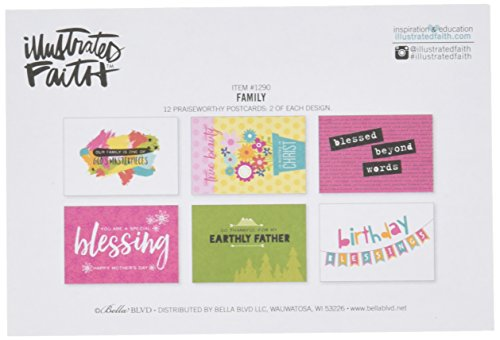 Bella Blvd 1290 Illustrated Faith Basics Blessings by Mail Postcards, Family, Assorted ()