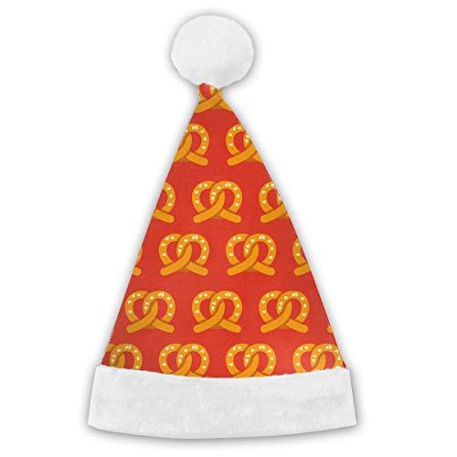 switchwak Pretzels Pattern Adults&Children Christmas Santa Claus Hat Party White -