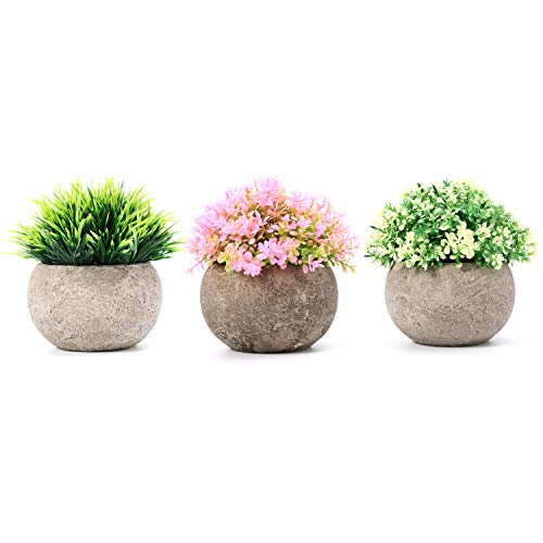 Azoco Artificial Plants Potted for Bathroom/Farmhouse Home Decor, Mini Fake Plastic Grass Faux Greenery Colorful Flowers Topiary Shrubs with Gray Pot for House Office Decoration - Set of 3