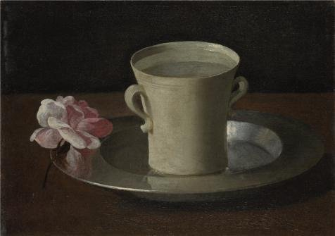 Oil Painting 'Francisco De Zurbaran - A Cup Of Water And A Rose,about 1630' 12 x 17 inch / 30 x 43 cm , on High Definition HD canvas prints is for Gifts And Bed Room, Game Room And Study Room decor