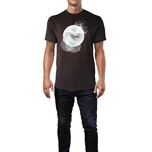 SINUS ART ® Abstrakte Vinylscheibe mit Musiknoten Herren T-Shirts in Schokolade braun Fun Shirt mit tollen Aufdruck