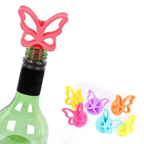 (BUTTERFLY Wine Stopper & Drink Glass Markers Set By Bar Amigos Funky Cool Unique Set includes 1 Single Silicone Wine Stopper Cap Saver and Set of 6 Multi Coloured Glass Markers Tags Ideal For Parties)