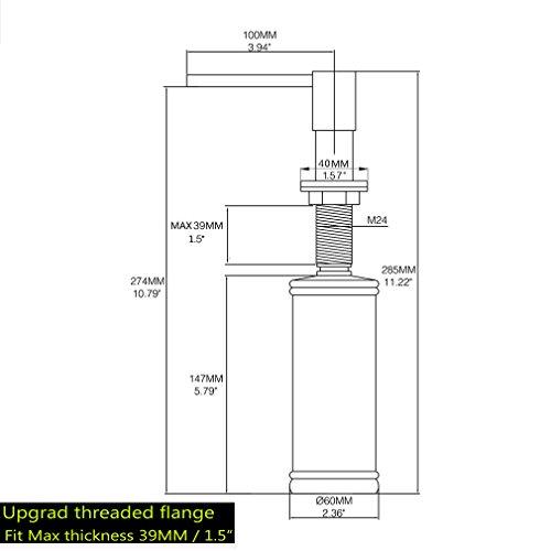 LAZADA Modern Chrome Built in Pump Kitchen Sink Dish Soap Dispenser, Dish Kitchen Soap Dispenser Pump